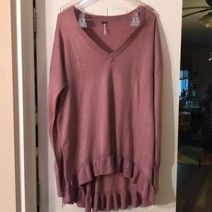 Pink ruffle sweater. Size XL